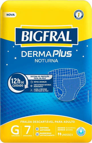 Kit C/4 Pt Fralda Bigfral Noturna P M G Xg Adulto Geriátrica
