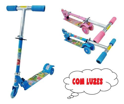 Patinete Infantil Metal Com 3 Roda C/ Luzes Altura Ajustavel