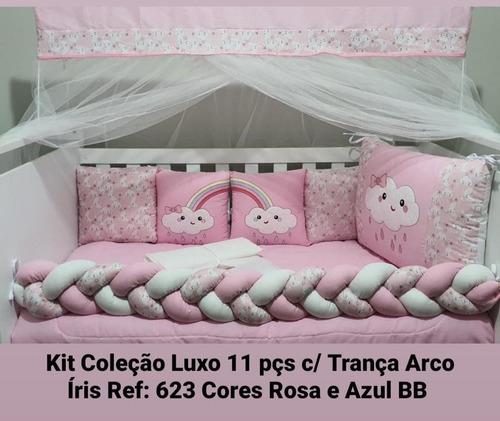Kit Berço Americano 11 Peças Rosa Nuvem Tiquinho Bordados