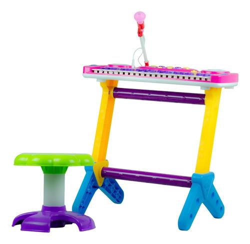 Piano Musical Infantil C/ Banquinho Microfone Rosa Menina
