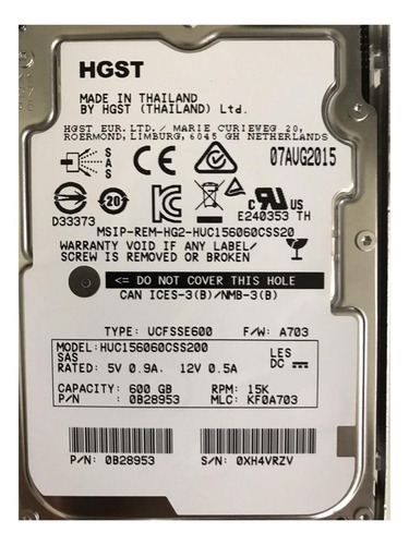 Disco Rígido Interno Hitachi Huc156060css200 600gb