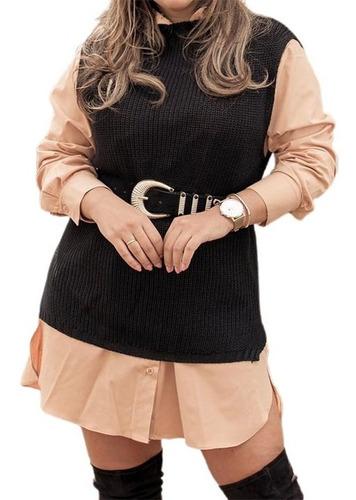 Colete Pulôver Blusa Feminino Trico Lã Trança Ótima Qualidad