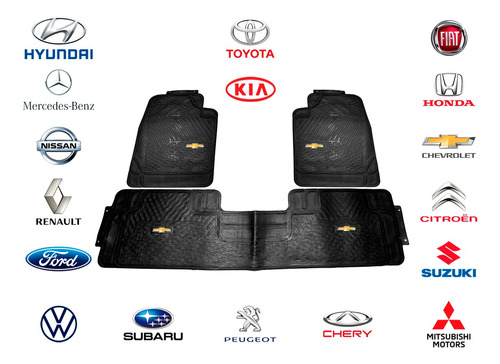 Alfombra Auto Juego 3 Piezas Alta Calidad Con Logos Marcas