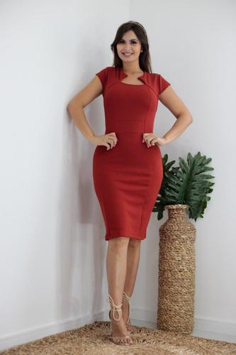 Vestido Tubinho Midi Social Moda Evangélica Feminino Zig Zag