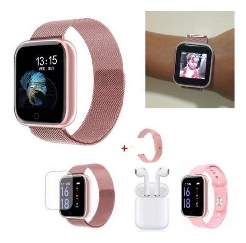 Relógio Smart Watch T80 + 2 Pulseiras +fone Sem Fio+película