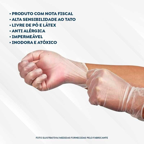 Luva Viniflex Descartável Livre De Látex C/ 100 Und Sem Pó