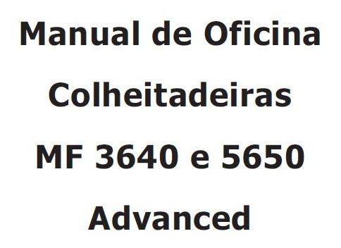 Manual De Serviço Massey Ferguson 3640 E 5650 Advanced