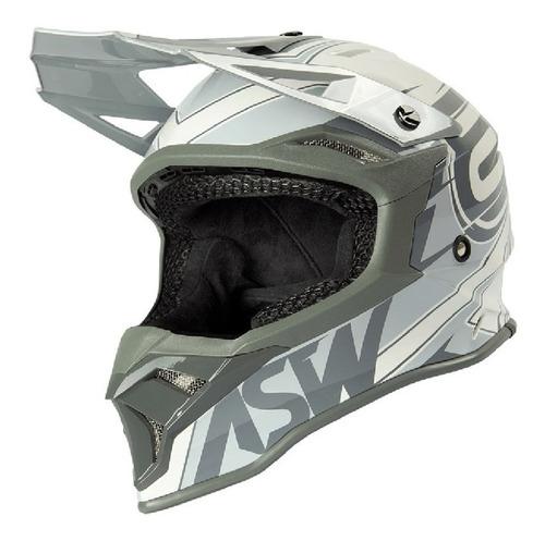 Capacete Asw Fusion 2.0 Blade Cinza Motocross Trilha