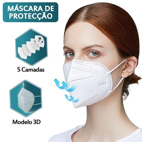 Kit 200 Máscara Kn95 Proteção 5 Camada Respiratória Pff2 N95