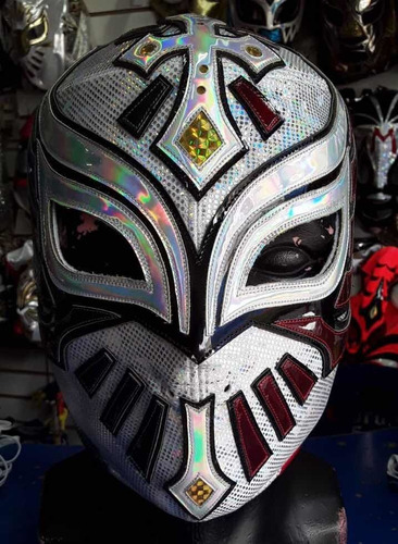 Máscara Profesional Del Luchador Carístico Plata Tri