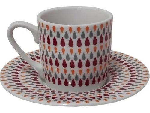 Jogo Conjunto De Xícaras De Café Com Pires Em Porcelana 90ml