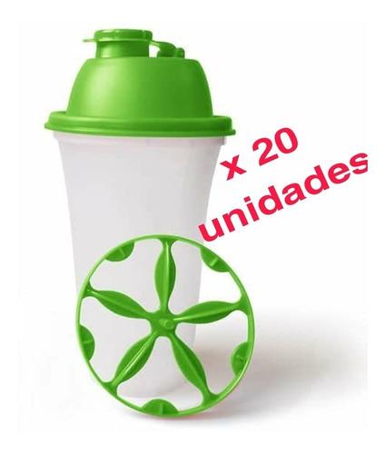 Vaso Batidor Para Proteina Shaker Verde Manzana Pack X 20 U.