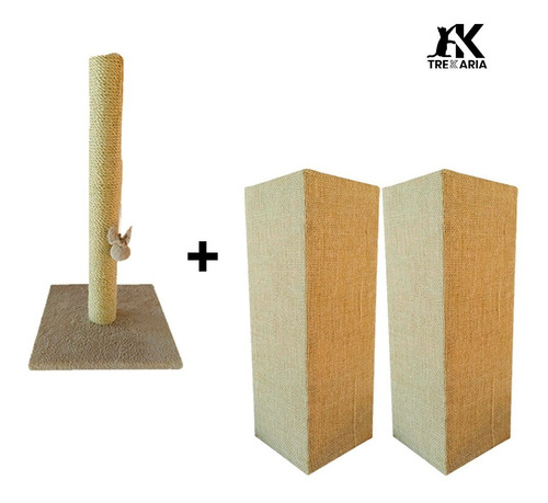 Kit 2 Arranhadores Canto Sofá 60cm + 01  Poste Sisal 50cm