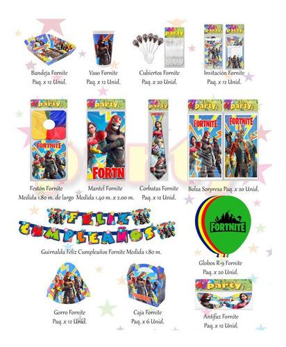 Kit Decorativo Infantil Fornite 12 Invitados + Obsequio