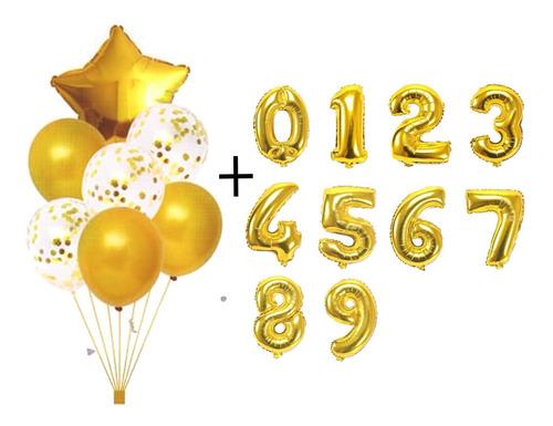 Kit Buque Baloes Estrela Dourada C/7 + 2 Balão Número 40cm
