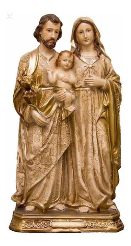 Imagem Sagrada Família Gesso Pó De Mármore Dourada 23cm