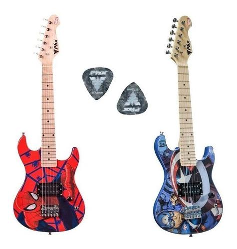 Guitarra Infantil Phx Marvel Homem Aranha Capitão América Nf