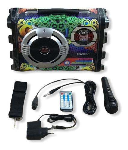 Caixa De Som Ecopower Karaoke Bluetooth E Mp3 - Ep-2220