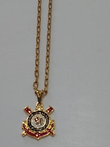 Corrente Do Corinthians Aço Inoxidável Dourada 70cm