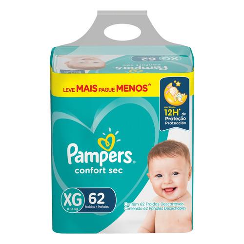 Fraldas Pampers Confort Sec Xg 62 U