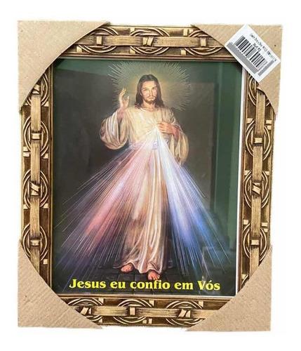 Quadro Jesus Misericordioso Resinado Com Vidro 20x25cm