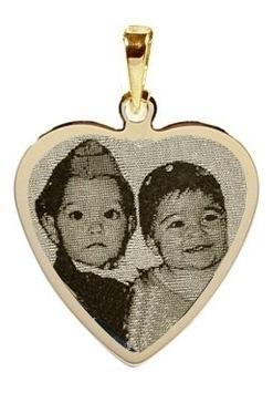 Pingente De Ouro Coração Personalizado C. Foto Fotogravação Original