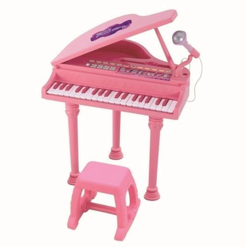 Piano Sinfonia Pianinho Infantil Rosa Modelo Luxo Winfun