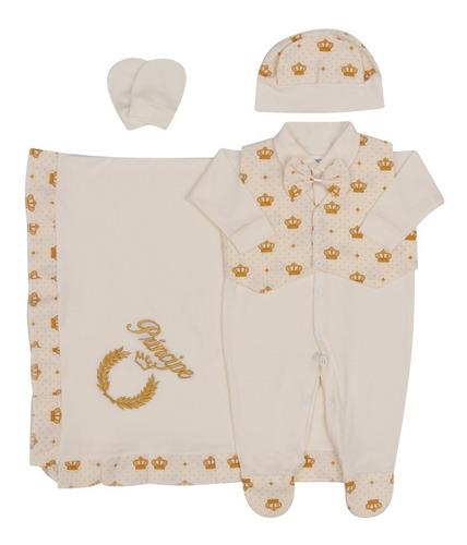Saída De Maternidade Bebê Menino Príncipe 6 Peças