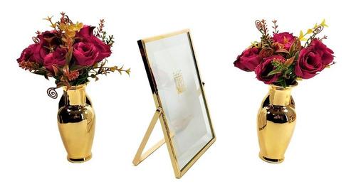 Kit Decoração 02 Vasos Dourado Porta Retrato Planta