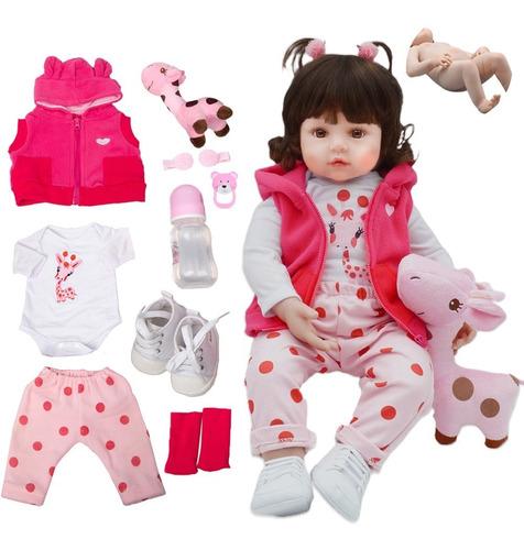 Boneca Bebê Reborn Silicone Olhos Castanhos Girafinha Ig-500