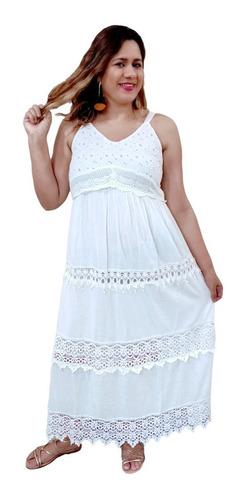 Vestido Longo Algodão Indiano Branco Alça  Mhi367