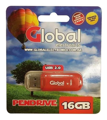 Pendrive Global Electronics Capuchón 16gb 2.0 Rojo