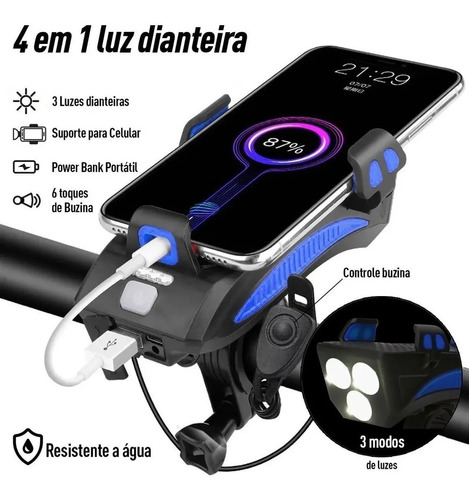 Farol Bike Duplo 4 Em 1 Buzina Suporte Celular Power Bank