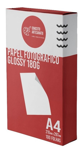 Papel Fotográfico A4 Glossy 180g 100 Folhas Premium