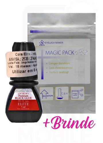 Cola Elite Hs-10 5ml Alongamento Cílios Premium Black Glue