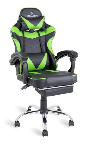 Cadeira Gamer Verde/preto Healer Level Reclina Com Apoio Pés