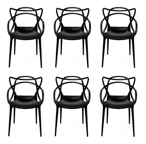 Kit 6 Cadeiras Allegra Preta
