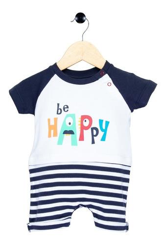 Macaquinho Bebê Be Happy Listrado Tip Top Branco 1 02 09 204