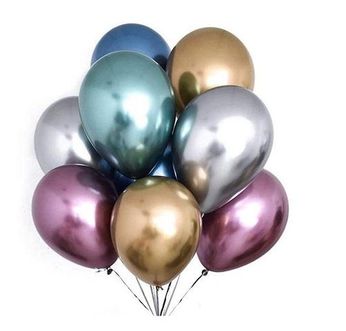 25 Balões Bexigas Metalizadas Cromadas Nº9 Várias Cores