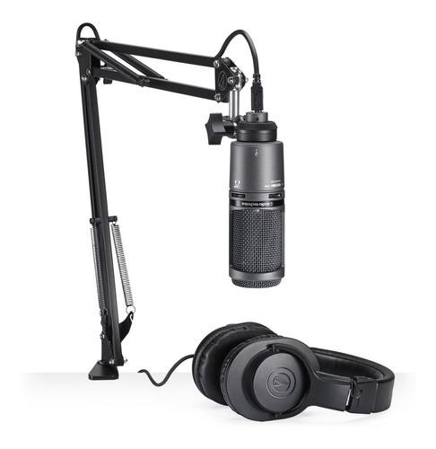 Kit Microfone At2020 Usb + Fone M20x Audio Technica  Suporte