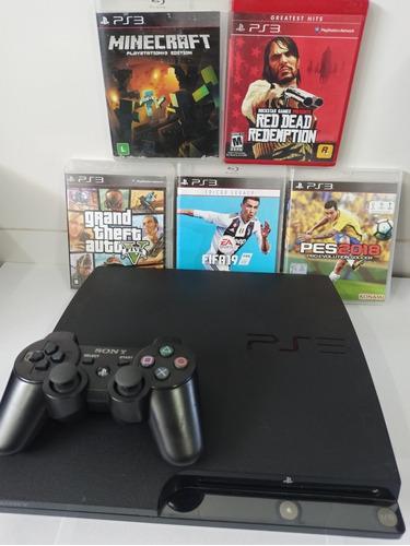 Playstation 3 Slim ,controle,pes ,fifa 19 ,gta V, Garantia!