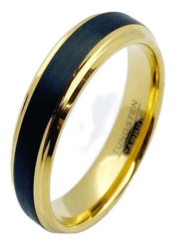 Par Aliança Anel Tungstênio Preto Com Dourado 4mm E 6mm