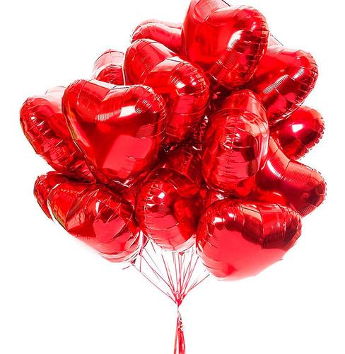 50 Balão Coração Metalizado 45cm Decoração Gás Ar Festas