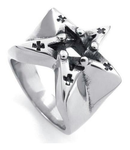 Anel Estrela  Pentagrama Aço 316l Aro 34 Religioso