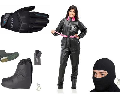 Kit Feminino Capa De Chuva Pantaneiro Luva X11 Fitx Balaclava Touca Ninja Polaina Galocha 100% Impermeável Moto