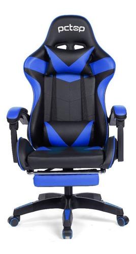 Cadeira Gamer Pctop Racer 1006 Reclinável Preta E Azul