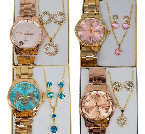 Kit Com 05 Relógios Feminino Atacado + Joias Foliado + Caixa
