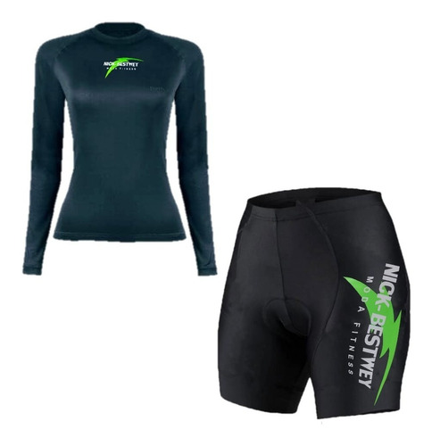 Conjunto Short E Camisa Ciclismo Bike Acolchoada Feminino