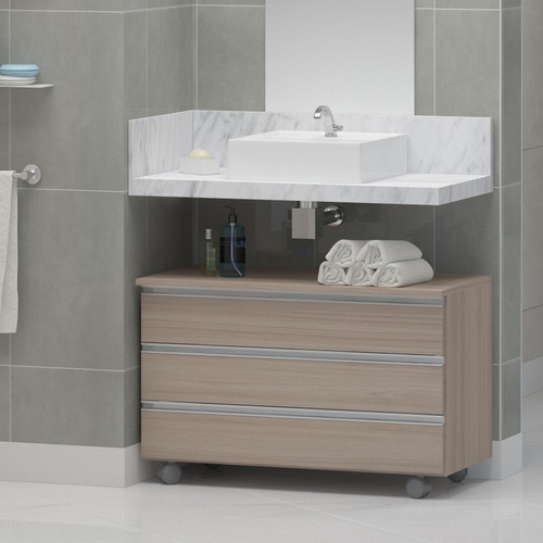 Gabinete Banheiro Rodinhas Joia 80cm 3 Gavetas Pux. Alumínio