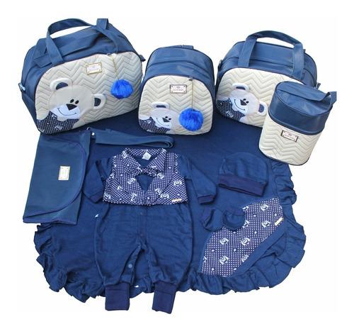 Kit Saída De Maternidade + Bolsas 5pcs Menino Azul Marinho